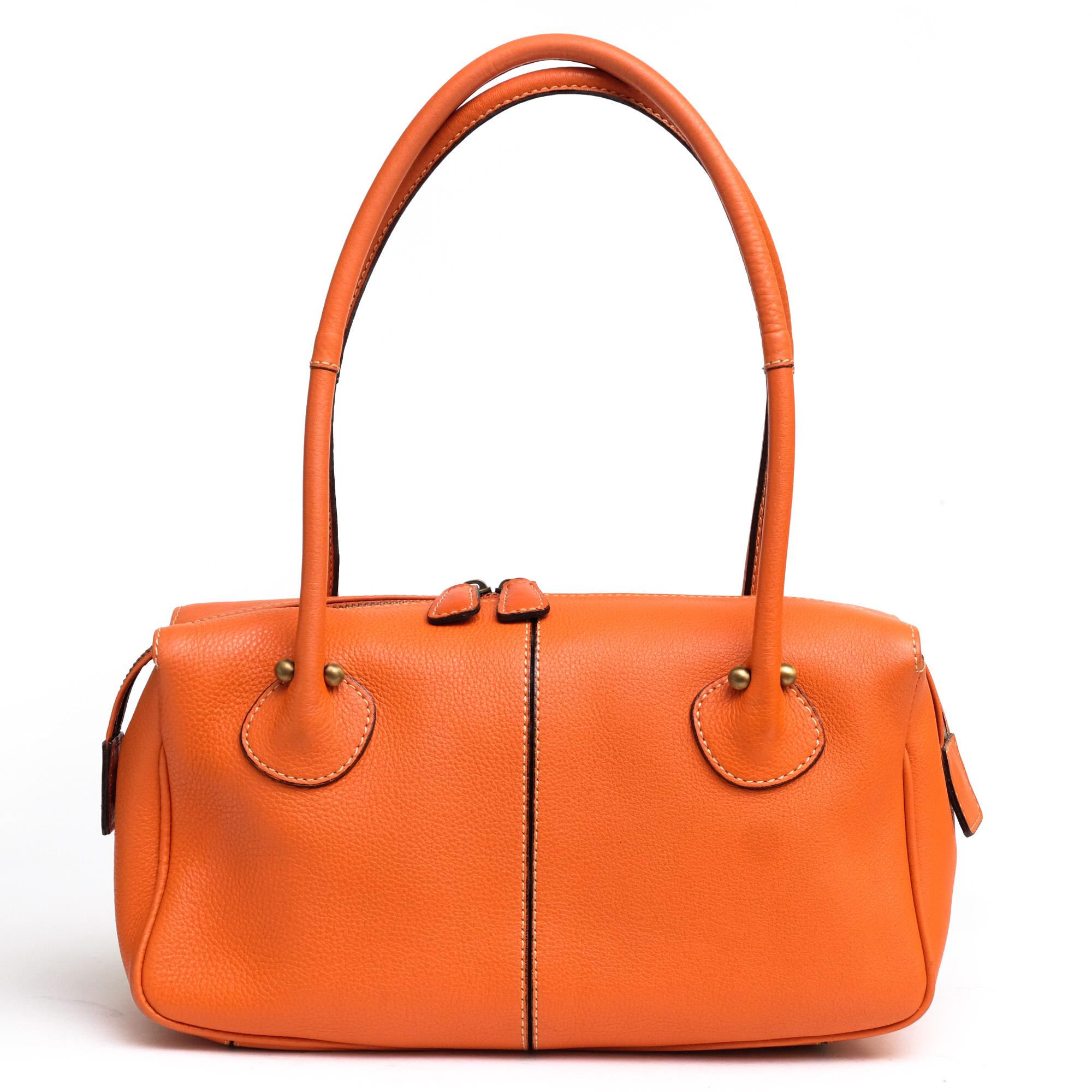 121319946f4e 土屋鞄 / TSUCHIYA-KABAN ハンドバッグ レディース オレンジ シボ革 シュリンクレザー ショルダーバッグ 肩掛け ワンショルダー -  ブランディング